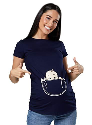 Camiseta de premamá con bebé asomándose
